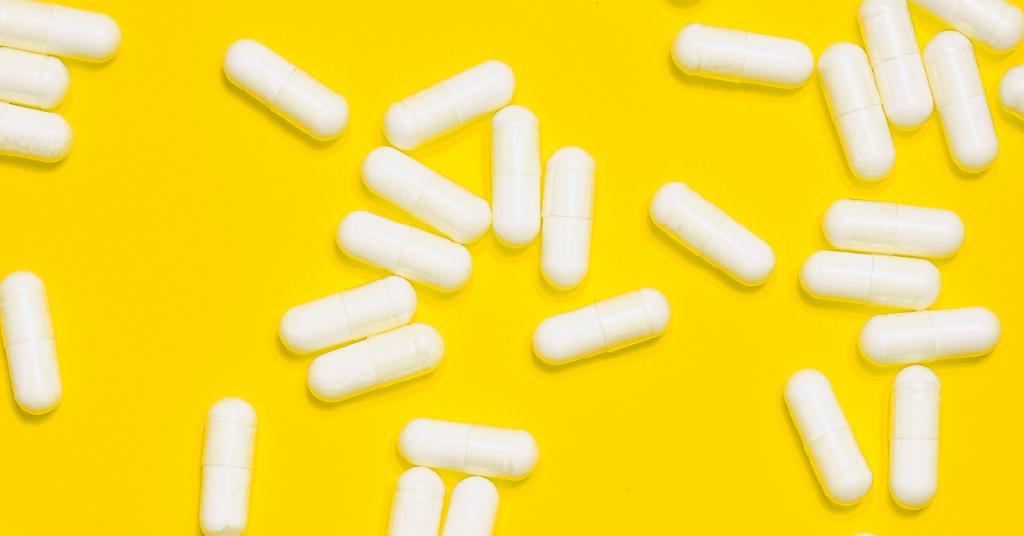 Multivitamin supplements scattered